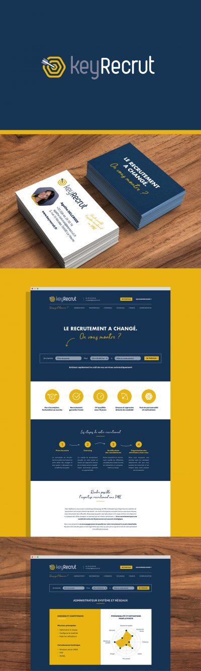 KeyRecrut : réalisation de l'identité visuelle, du site internet, et de la plaquette par l'agence de communication 15.100.17